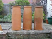 Chimney Pots x3 Terracotta hand-made hand-thrown