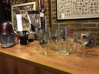 Mancave Bar with Ice Crusher, International Beer Glasses, Coasters and Kenwood Smoothie Maker.