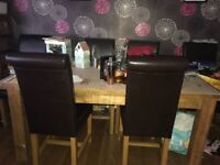Pine / dining table and chairs
