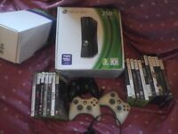 Xbox 360 250gb, kinect, 4 controllers, headset and 18 games