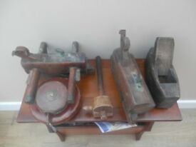 Vintage hand tools and leather cased tape measures