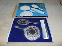 Vintage Silver Plated Dressing Table Grooming Vanity Set Mirror Comb Brush,joblot,carboot,nice new