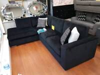 Brand new black fabric corner sofa **x display**