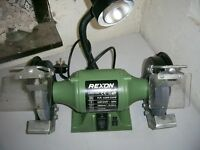 Rexon industrial bench grinder with integral light