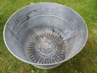 Galvanised Metal Dolly Tub / Planter