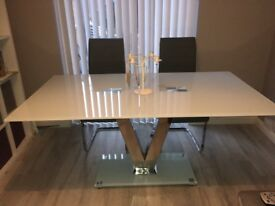 White and chrome dining table