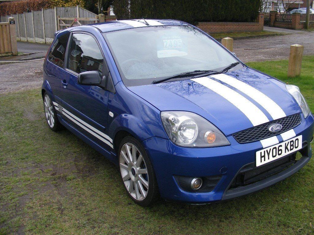 ford fiesta st 2006 3 door in blue with white stripes in. Black Bedroom Furniture Sets. Home Design Ideas