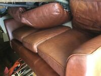 Large leather settee