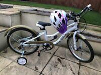 Girls Bike with stabilisers & helmet