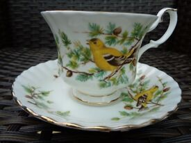 Royal Albert Woodland Series Goldfinch Rare Bone China Tea Cup Saucer