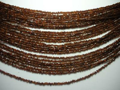- VINTAGE 28 STRAND AMBER COLORED GLASS BEAD NECKLACE
