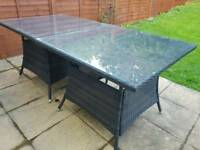 2 x Garden Tables with glass tops