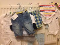 bag of baby boy clothes from 0- 12 month. Vests, baby grows, trousers, tshirts. Next/m&s