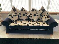 Black & Cream Scatter Back 3 seat sofa