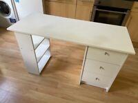White Wooden Desk with Pedestal