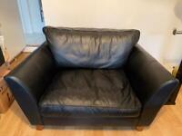 Black Leather two seating sofa