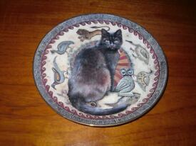 Two Decorative Cat Plates by Lesley Anne Ivory