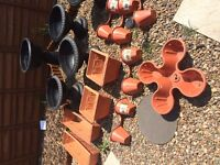 NEW REDUCED PRICE17 pots, 2 hanging baskets with artificial flowers