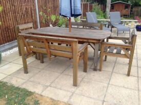 Wooden Garden Dining set - solid pine consisting of table, 2 benches and 2 chairs - seats 6.