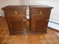 Pair of Extra Large Solid Wood Villa & Hut Bedside Cabinets