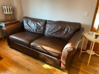 M&S Abbey sofa - 3 seater dark brown leather sofa