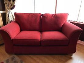 Red fabric sofas 2 seater and a 3 seater