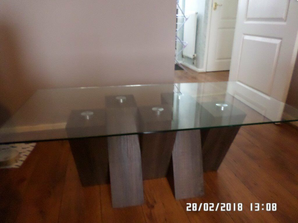 Harvey S Piston Coffee Table Glass Top Wooden Legs In