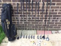 Ladies golf clubs (irons), bag and men's 3 wood/5 wood and putter