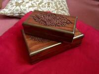 2 Wooden Jewellery Trinket Boxes Floral Hand Carved Small Medium Wood & Metal