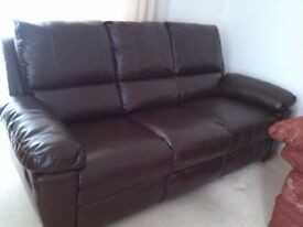 Leather 3 Seater New Sofa with manual recliner