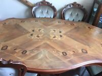 Reproduction dining table.4 chairs and 2 carvers