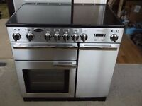 Rangemaster Professional Plus 90 Ceramic - Electric, Stainless Steel, plus Hood and Splashback