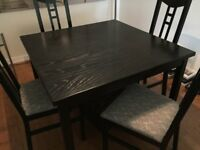 Square extendable dining table and chairs