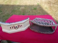 Cream Cast-Iron Enamelled Fender 40cm wide, Fire Grate and Ash Pan