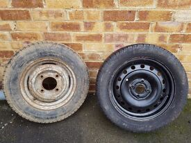 2 steel rims with tyres
