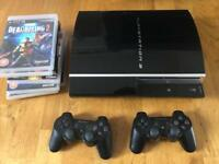 PS3 Sony Playstation 3 console 80GB black + 2 official wireless controllers + games
