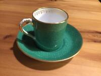 Stunning green & gold espresso cup & saucer