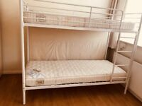 White Single Bunk Bed With Two Quality Mattress