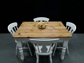 Solid Pine Farmhouse Table & 4 Chairs