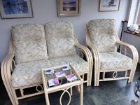 Desser Madrid Conservatory Furniture, 2 Seat Sofa, Armchair, Lamp Table, Lt Oak, Willow Pattern, vgc