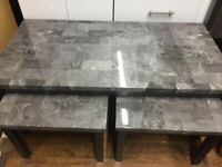 Grey marble effect coffee table set