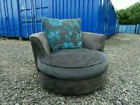 Grey Swivel Chair Sofa+Footstool *Excellent Condition*