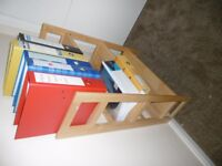 Solid wood wall mounted book shelf and / or PC work table. A real space saver.