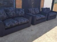 Superb Brand New large sofa set. 3+2+2.black sofas with scattered cushions. Can deliver