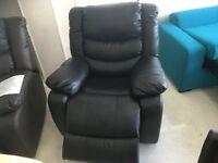 Brand New Designer Top Grain Black Leather Electric Massage Chair