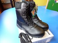 Task Force Black Leather Waterproof High Leg Safety Boots - Size 11