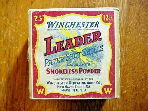 Winchester Leader 12 Ga ANTIQUE 2 PIECE BOX  Shotshell Shotgun Shell EMPTY BOX
