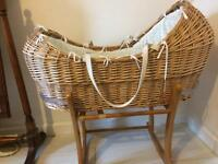 Clair De Lunes Moses basket Excellent Condition used for 5 weeks only