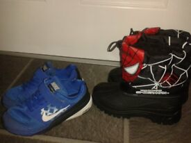 Kids Nike trainers and Snow boots