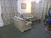 Large good quality thick pile carpet in light green with thick underlay for comfort